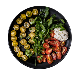 Colorful cherry tomato, mozzarella & rocket salad